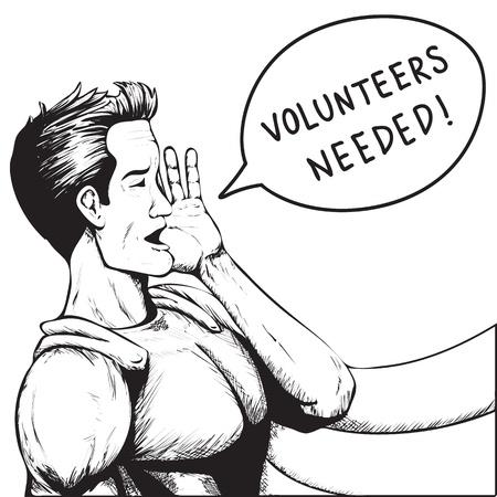 help wanted: Volunteers Wanted! Superhero Need Help! Black and White Cartoon Vector Illustration. Illustration