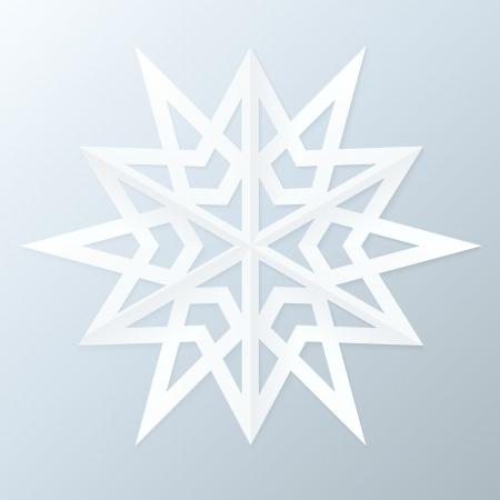 fiambres: Copo de nieve de papel. Ilustración vectorial.