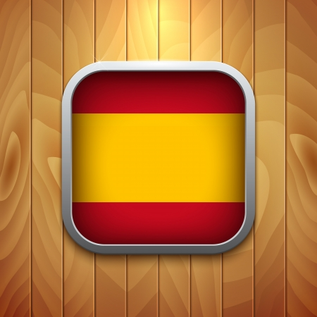 flag spain: Rounded Square Spain Flag Icon on Wood Texture