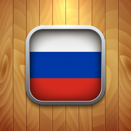 russian flag: Rounded Square Russian Flag Icon on Wood Texture