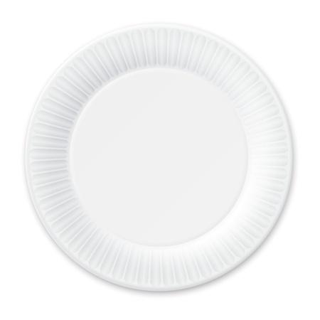 白で隔離される使い捨て可能な紙皿