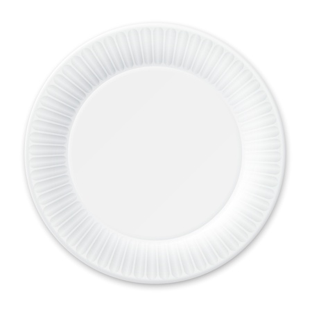 Disposable Paper Plate  Isolated on White