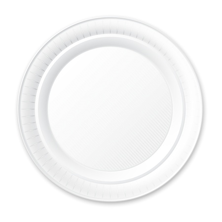 empty plate: Disposable Plastic Plate  Isolated on White   Illustration