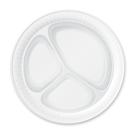 paper plates: Disposable Plastic Plate  Isolated on White   Illustration