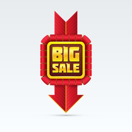 colorful sticker: Red Sale Badge With Shadow on White Background