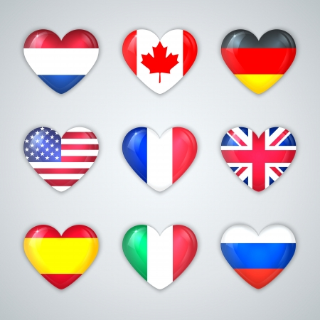 Glass Heart Flags of Countries Icon Set   Vector Illustration  Vector