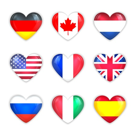 Glass Heart Flags of Countries Icon Set   Isolated on White  Vector Illustration  Vector