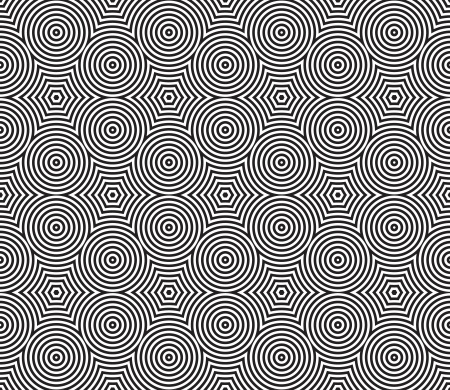 Black and White Psychedelic Circular Textile Pattern. Vector Illustration. Vector