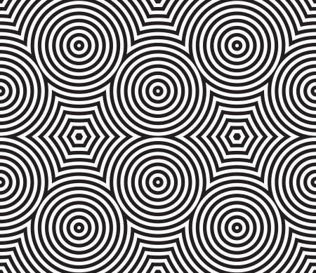 Black and White Psychedelic Circular Textile Muster. Vektor-Illustration.