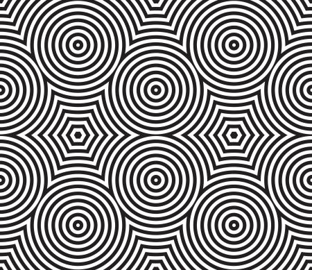 Negro y Blanco Psychedelic Diseño Textil Circular. Ilustración vectorial.