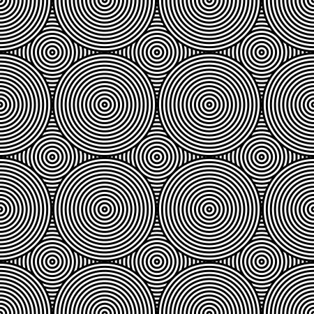 arte optico: Negro y Blanco Psychedelic Diseño Textil Circular.