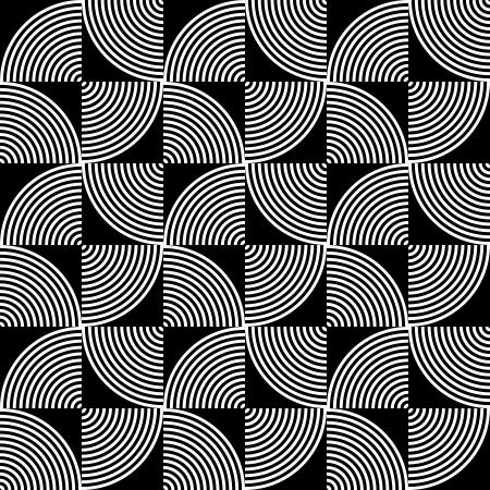 黒と白のサイケデリックな円形の織物のパターン。  イラスト・ベクター素材