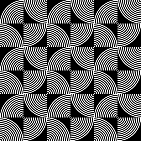 Black and White Psychedelic Circular Textile Pattern.  Vector