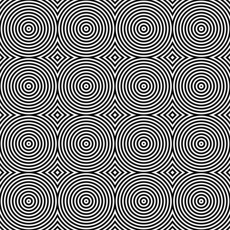 extra sensory perception: Black and White Psychedelic Circular Textile Pattern. Illustration
