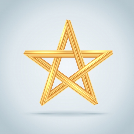 pentagram: Gold Inconceivable Pentagram. Vector Illustration.