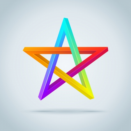 pentagram: Colorful Inconceivable Pentagram. Vector Illustration.