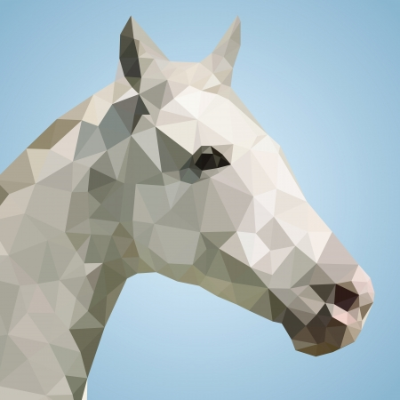Head of a white horse in triangular style - Vector Illustration  Vector
