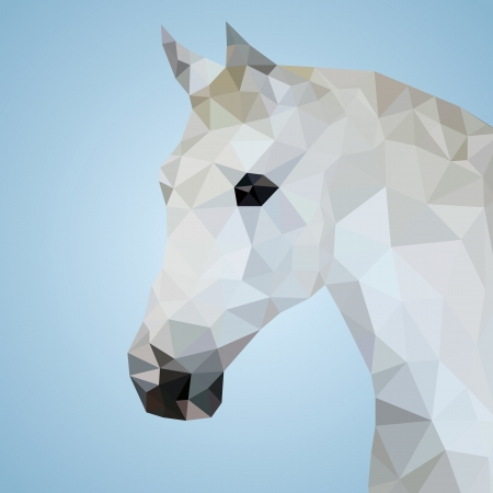 Head of a white horse in triangular style - Vector Illustration