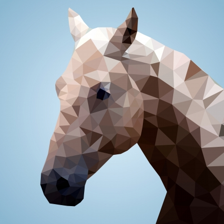 horsehair: Head of a bay horse in triangular style - Vector Illustration  Illustration