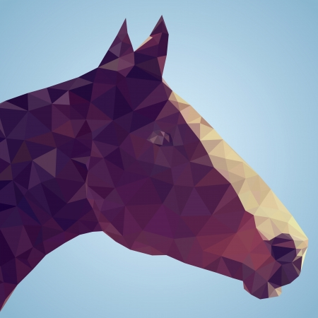 Head of a bay horse in triangular style - Vector Illustration  Vector