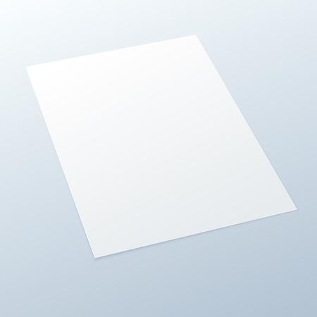 Realistische Blank leeren A4 Büro-Papier in der Perspektive auf einem hellen Hintergrund - Vector MockUp Illustration