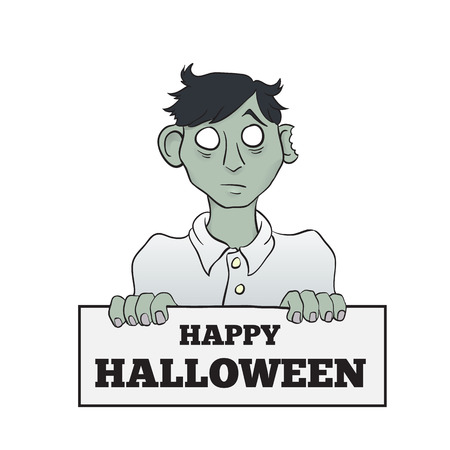 Cartoon Melancholy Zombie with Sign  Isolated on White Vector Illustration  Vector