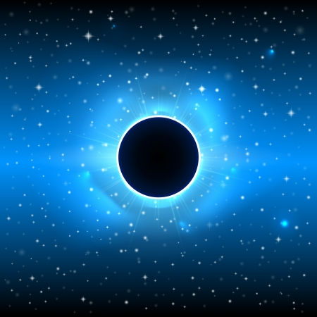 Glowing black planet in outer space - Futuristic Vector Illustration.