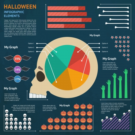 Halloween Infographic Elements - Flat Design Vector Illustration Vector
