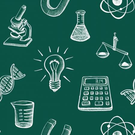 sketched icons: Blanco bosquej� iconos de la ciencia en el fondo verde incons�til del vector Vectores