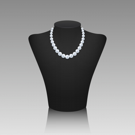 Realistic pearl necklace on a rack with reflection on light gray background Vector