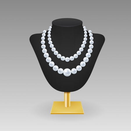 Realistic pearl necklace on a rack with rshadow on light gray background