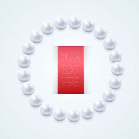 Pearl necklace with red label on light background  Vector Illustration