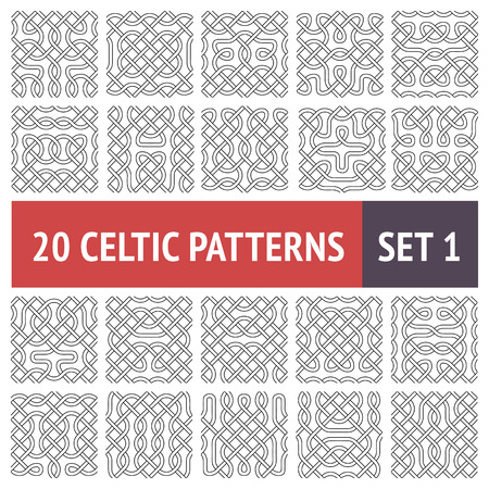 Set of 20 black and white Celtic seamless patterns with samples in swatches Vector