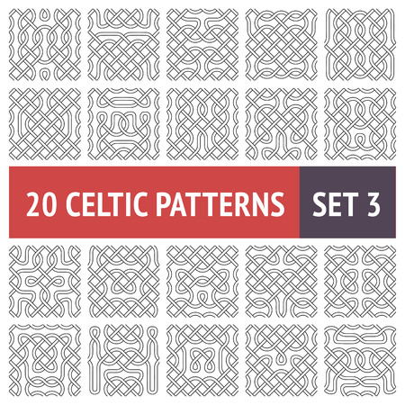 Set of 20 black and white Celtic seamless patterns with samples in swatches Stock Vector - 24385702