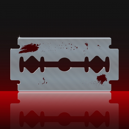 Razor Blade Stained with Blood on Dark Background - Vector Illustration