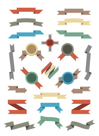 Flat Color Ribbons and Badges Set  Isolated on White Vector Illustration Stock fotó - 25111941