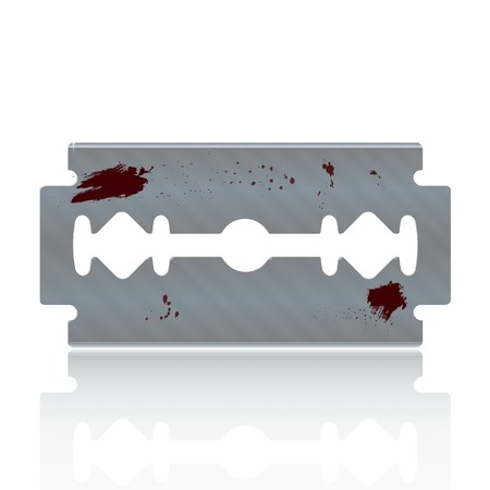 razor blade: Razor Blade Stained with Blood - Isolated on White Illustration