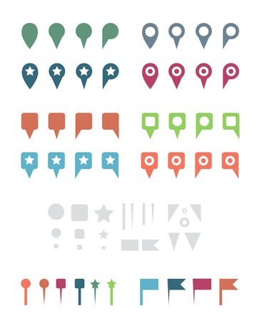 Simple Colorful Flat Map Pins and Elements  Isolated on White Illustration