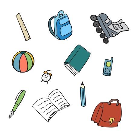 Colorful School Items - Cartoon Illustration Isolated on White illustration