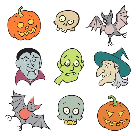 Halloween Cartoon Characters Set  - Isolated on White Illustration illustration