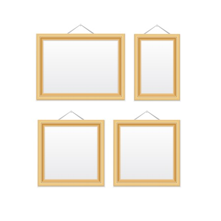 wooden frame: Gold picture frames  Isolated on white illustration