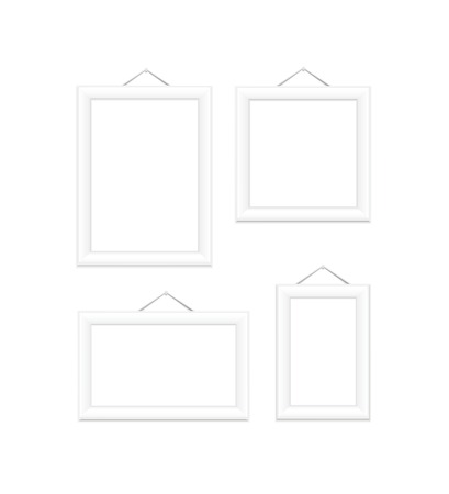 White picture frames  Isolated on white illustration