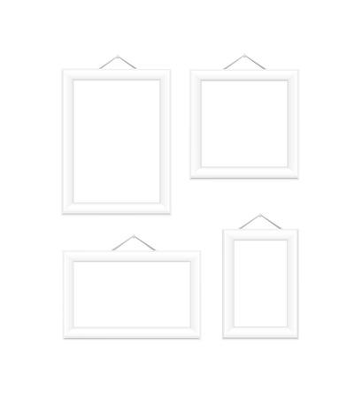 Wit foto frames op witte illustratie Stockfoto