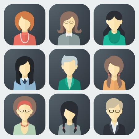 personas: Colorido Mujer Caras App Icons Set de moda plana Estilo