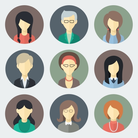 Colorful Female Faces Circle Icons Set in Trendy Flat Style Hình minh hoạ
