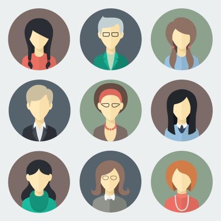 dise�os: Colorido Mujer Faces Circle set de iconos de moda plana Estilo