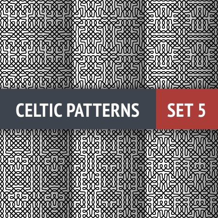 Set of 6 black and white Celtic seamless patterns with samples in swatches Illustration