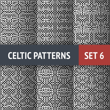 black and white celtic: Set of 6 black and white Celtic seamless patterns with samples in swatches Illustration