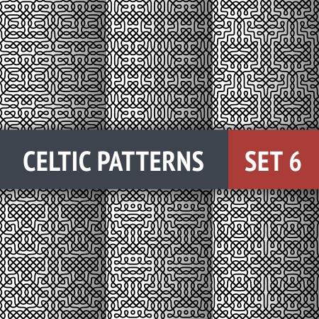 keltische muster: Set von 6 Schwarz-Wei�-Celtic nahtlose Muster mit Proben in Farbfelder Illustration