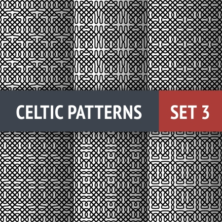 Set of 6 black and white Celtic seamless patterns with samples in swatches Vector